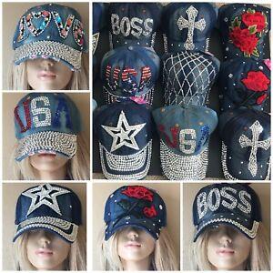 Women Rhinestone Crystal Baseball Caps Bling Studded Denim Hats Adjustable New