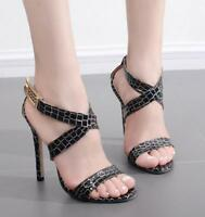 Womens Sexy Stilettos Ankle Cross Strap High Heels Sandals Peep Toe Party Shoes