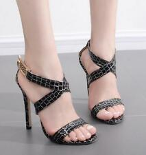 Women's Open Toe Cross Strap Buckle Sandals Stilettos High Heels Slingback Shoes