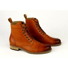 New Men Handmade Leather Cap Toe Ankle High lace Up Boots
