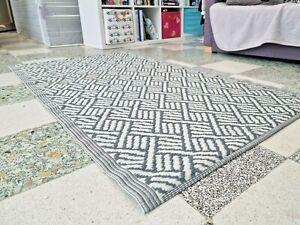 Large Grey Indoor Outdoor Mat Rug 1.8M X 1.1M Weave Garden Patio Kitchen Runner