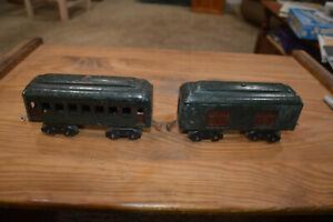 1915-1923 LIONEL TRAIN GREEN 602 MAIL / BAGGAGE CAR & 601 COACH