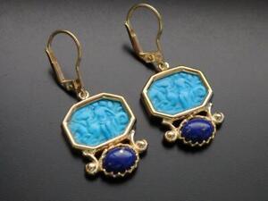 TAGLIAMONTE Earrings YGP/SS Magnesite gemstone Cameo+Lapis leverbacks