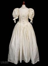 Vintage robe de mariée victorienne de conte de fées de soie ivoire 10 Bow train R653 Cosplay
