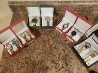 9 watch bracelet mens his hers stainless silver gold geneva valletta stones lot