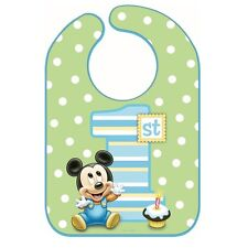 Disney Mickey Mouse 1st Birthday Bib Baby Boy First Birthday Party Supplies