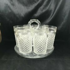 Vintage Glass Center Handle Tumbler Carrier Tray w/ 6 Glasses