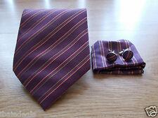 Cravate en soie rayée violet / mauve NEUVE + boutons de manchette + pochette