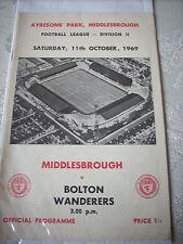 Middlesbrough v Bolton Wanderers 11.10.69 programme 2nd Division
