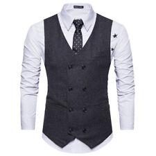 Mens Tweed Peaky Blinders Wedding Formal Suit Vest Slim Herringbone Waistcoats