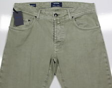 NWT New * CESARE ATTOLINI * Current Olive Green Cotton-Linen Stretch Jeans 32x32