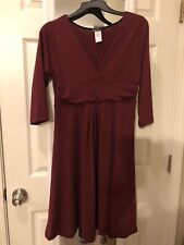 EUC 3/4 Sleeve Burgundy Cotton Maternity Dress