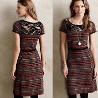 Anthropologie Sparrow Women's Size M Short Sleeve Lace Stripe Sweater Dress