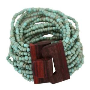 Turquoise Blue and Brown Tones Bali Bracelet Glass Beads with Wood Buckle