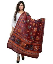Wine maroon Cotton Ethnic Embroidery Dupata phulkari stole wrap chuni Bollywood