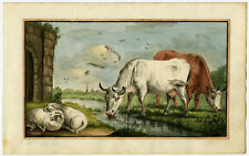 Antique Drawing-LANDSCAPE-COWS-SHEEP-Anonymous-ca. 1800