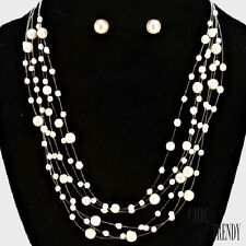 AFFORDABLE OFF WHITE PEARL PROM BRIDESMAID WEDDING FORMAL NECKLACE JEWELRY SET