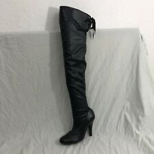 Colin Stuart Over the Knee Boots Sz 9B Black Stretch Pull On Heels
