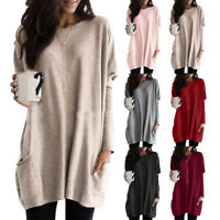 AM_ WOMEN LONG SLEEVE PULLOVER CASUAL BAGGY TUNIC TOP LADIES JUMPER BLOUSE SUPER