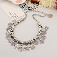 Ethnic Silver Coin Pendant Turkish Gypsy Boho Women Beach Choker Bib Necklace