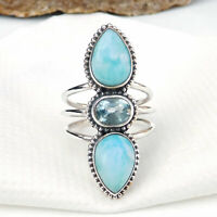 Natural Larimar Ring 925 Sterling Silver Larimar Ring Larimar Blue Topaz-S261