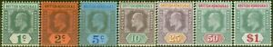 British Honduras 1904-07 set of 7 to $1 SG84-91 Fine Mtd Mint