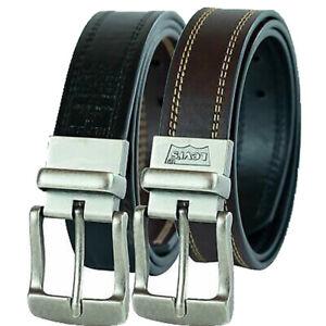 Levis Leather Belt Men's 38mm Cut Edge Reversible Leather Belt, Brown/Black