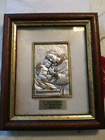 Sant'Antonio da Padova bassorilievo placcato arg 925decorato a mano tiratura lum