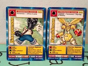 Bandai 2000 Digimon Movie Promo GARGOMON + RAPIDMON CARD SET
