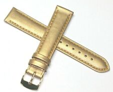18MM GOLD COLOUR VERY LATEST FASHION GENUINE LEATHER WATCH STRAP GOLD BUCKLE NEW