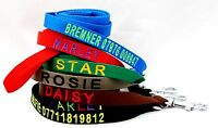 Personalised Embroidered Dog Lead Choice of Colours  with Name , Lenght-130cm