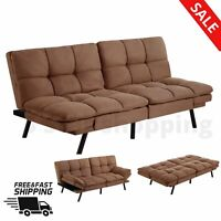 FUTON FULL SIZE SOFA MEMORY FOAM BED COUCH Convertible Sleeper Chair Home Beige
