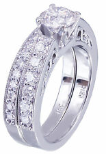 14k White Gold Round Cut Diamond Engagement Ring And Band Bridal Deco 1.45ctw