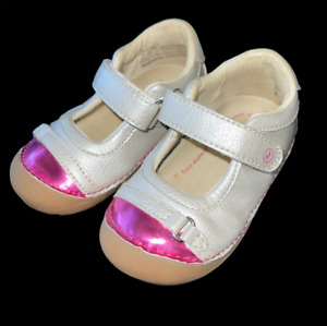 """Size 5 Baby Girl Shoes STRIDE RITE """"Buttercup"""" Silver Pink Bumper Toe One Strap"""