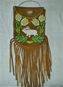 "Native American Beaded Belt Bag Pouch Purse 7"" x 5"" flowers"