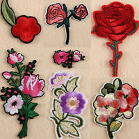 11PCS Rose Flower Embroidered Iron on Applique Patch Dress Sewing Crafts Badge