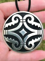 Huge Vintage Mexican Sterling Silver Pendant Necklace Brooch Artisan Handcrafted