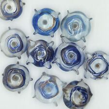 Glass Beads Blue Gold Clear Color Lined Quad 15mm. Pack of 10. Made in India.