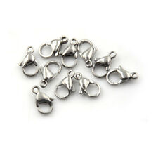 10Pcs Stainless Steel Lobster Clasp Fit Chain Bracelet Jewelry Finding SilverP&C