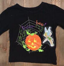Disney Girls 3T Top Black Long Sleeve Tinkerbell Halloween Pumpkin