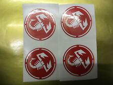 FIAT ABARTH SCORPION Wheel Centre Caps 50mm diameter 3D look x4 stickers