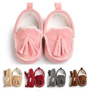 Newborn Baby Boy Girl Crib Shoes Faux Fur Warm Infant Pre Walker Casual Shoes