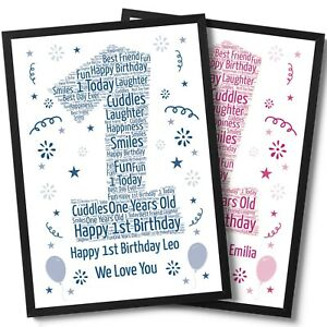 Personalised 1st First Birthday Word Art Print Gift For Boys And Girls Keepsake
