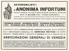W9559 Assicurazione ANONIMA INFORTUNI - Pubblicità del 1938 - Old advertising