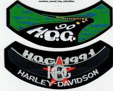 1990 & 1991 HOG Members Rocker Patches HARLEY DAVIDSON OWNERS GROUP HD MC club