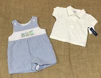 Crown & Ivy Baby Boy Blue Seersucker Stripe Smocked Easter Train 2 pc Sz 3 Month