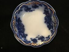 "FLOW BLUE 2 7/8"" DAVENPORT BUTTER PAT BY NEW WHARF POTTERY IN MINT CONDITION"