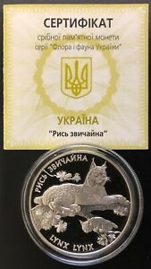 Ukraine Silver Coin 10 Hryvnia 2001 Lynx+Certificate
