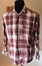 """Benetton  ~ all linen brown check summer l/sleeve shirt M ~ 38-40"""""""