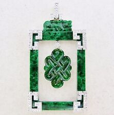 "1.85"" Chinese 18K White Gold Pendant w/ Carved Green JADEITE & Diamonds  (8g)"